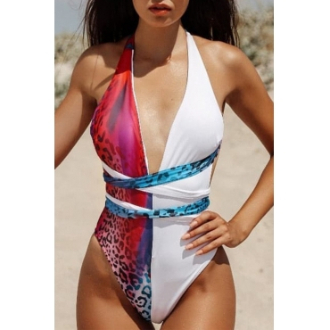 Lovely Lace-up Patchwork Rose Red One-piece Swimwear