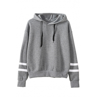Lovely Casual Hooded Collar Striped Grey Hoodie