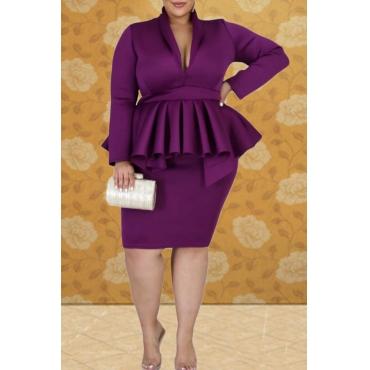 Lovely Casual V Neck Flounce Design Purple Knee Length Plus Size Dress