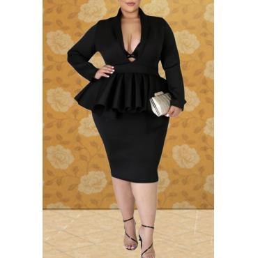 Lovely Casual V Neck Flounce Design Black Knee Length Plus Size Dress
