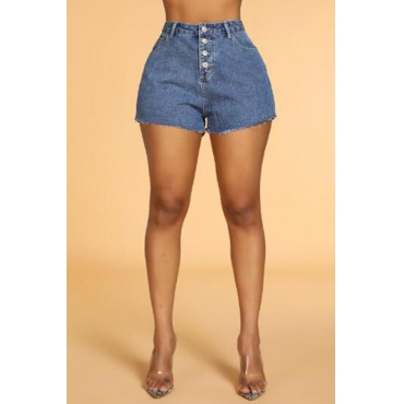 Lovely Casual Buttons Dark Blue Shorts