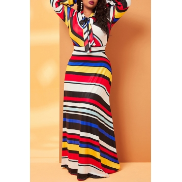 Lovely Casual Print Multicolor Ankle Length Plus Size Dress