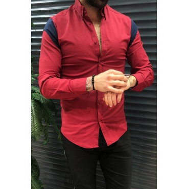 Lovely Trendy Patchwork Red Shirt
