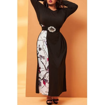Lovely Casual Patchwork Black Ankle Length Plus Size Dress