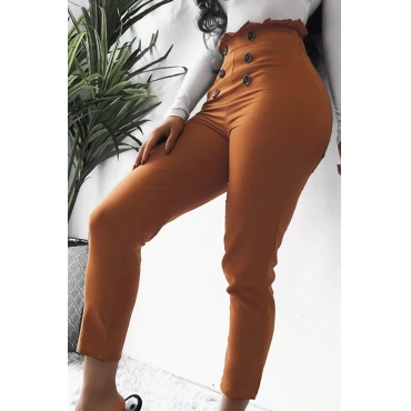 Lovely Casual Buttons Design Brown Pants