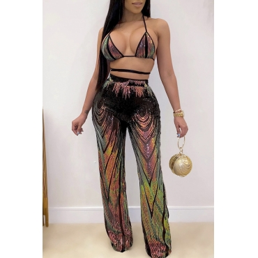 Lovely Sexy Spaghetti Straps Multicolor Two-piece Pants Set
