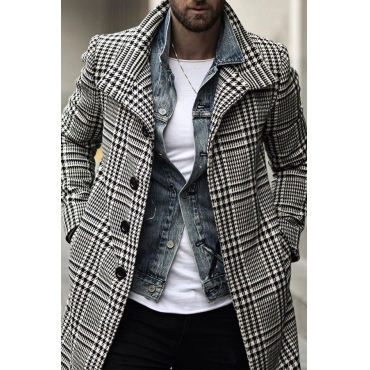 Lovely Casual Plaid Print Black And White Coat