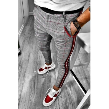 Lovely Casual Plaid Grey Pants