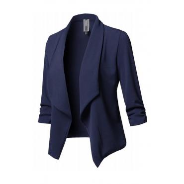 Lovely Work Turn-back Collar Blue  Blazerd