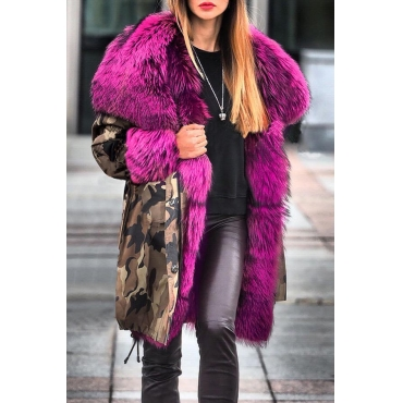 Lovely Casual Patchwork Rose Red  Parka Coat