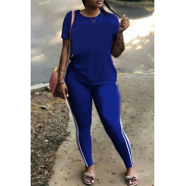 Lovely Casual Basic Royal Blue Plus Size Two-piece Pants Set