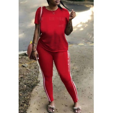 Lovely Casual Basic Red Plus Size Two-piece Pants Set
