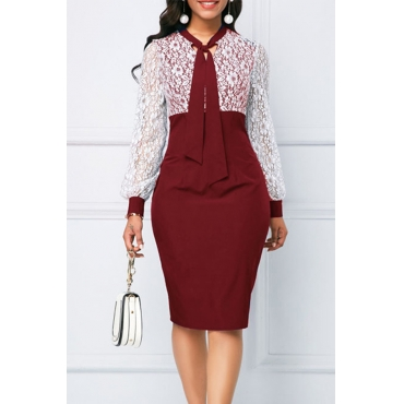 Lovely Chic Patchwork Red Knee Length Dress