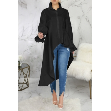 Lovely Casual Turndown Collar Asymmetrical Black Blouse