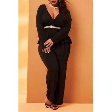 Lovely Casual Deep V Neck Black Plus Size Two-piece Pants Set