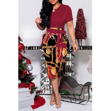 Lovely Trendy O Neck Print Wine Red Knee Length Dress