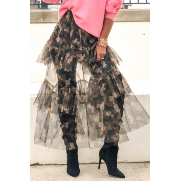 Lovely Chic See-through Camo Skirt