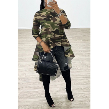 Lovely Casual Asymmetrical Camo Army Green Blouse