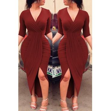 Lovely Chic V Neck Ruffle Design Purplish Red Ankle Length Dress
