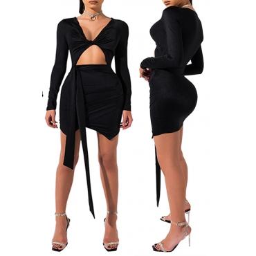 Lovely Stylish V Neck Hollow-out Black Mini Dress