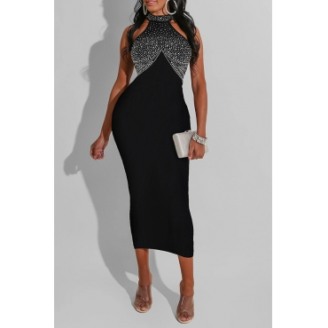 Lovely Party Hot Drilling Decorative Black Mid Calf Dress