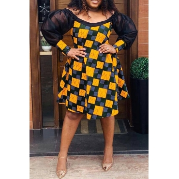 Lovely Casual Plaid Print Blue Knee Length Plus Size Dress