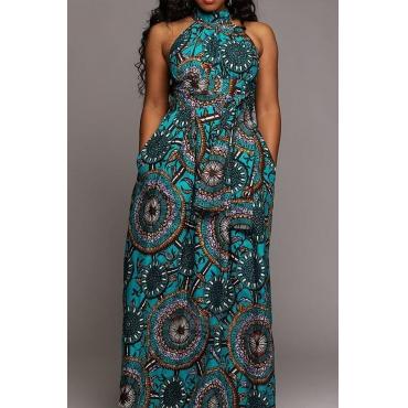 Lovely Party Dew Shoulder Print Blue Prom Dress