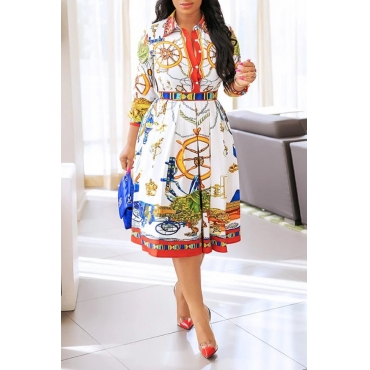 Lovely Chic Print White Knee Length Dress