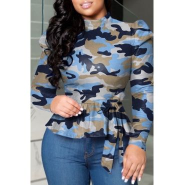 Lovely Casual Camo Blue Blouse