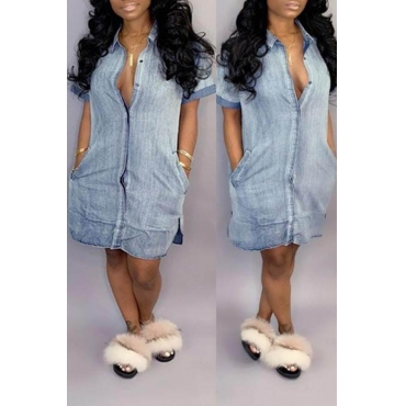 Lovely Casual Turndown Collar Buttons Design Baby Blue Knee Length Dress