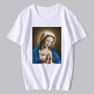 Lovely Leisure Figure Print Basic White T-shirt