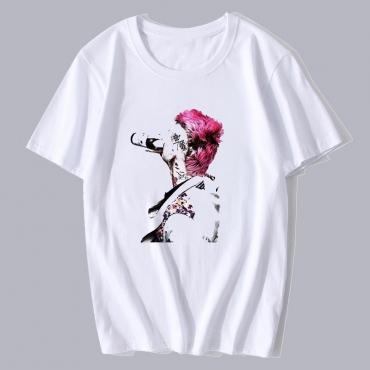 Lovely Leisure Print Basic White T-shirt