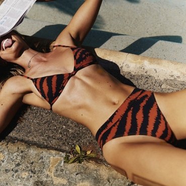 Lovely High-Leg Tiger Stripes  Two-piece Swimwear