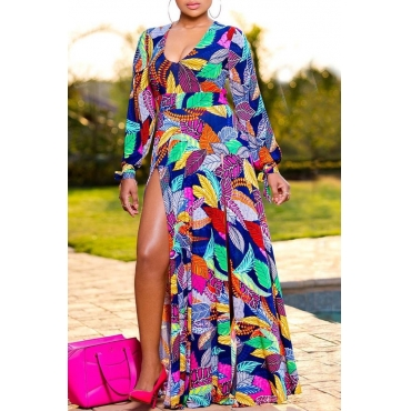 Lovely Bohemian Print Multicolor Maxi Dress