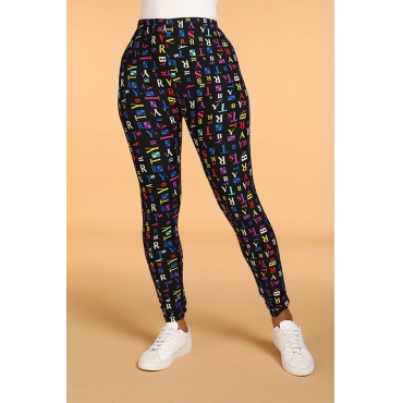 Lovely Leisure Letter Multicolor Leggings(With Elastic)