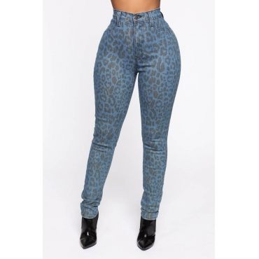 Lovely Casual Basic Skinny Leopard Jeans