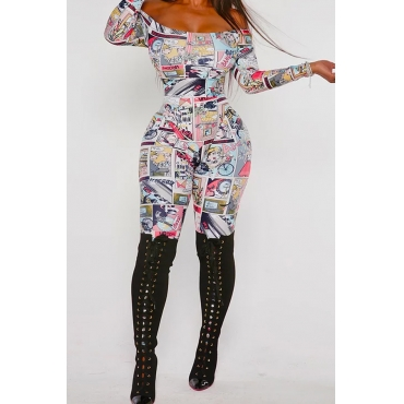 Lovely Leisure Print Multicolor One-piece Jumpsuit
