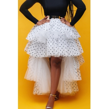 Lovely Sweet Dot Flounce White Cake Skirt Skirt