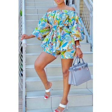 Lovely Bohemian Print Multicolor Two-piece Shorts Set
