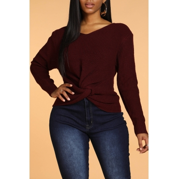 Lovely Sweet Cross-over Design Wine Red Sweater