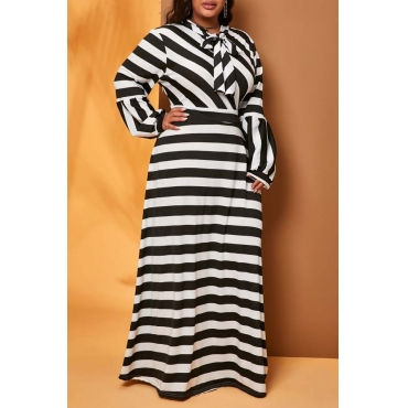 Lovely Leisure Striped Black Plus Size Maxi Dress