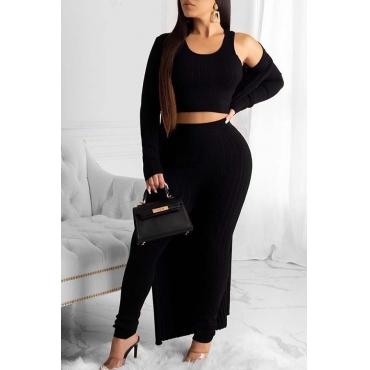 Lovely Trendy Basic Skinny Black Three-piece Pants Set