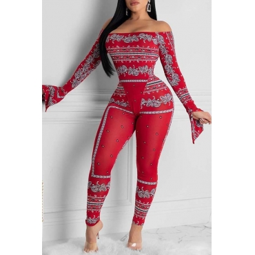 Lovely Trendy Print Bright Red Two-piece Pants Set