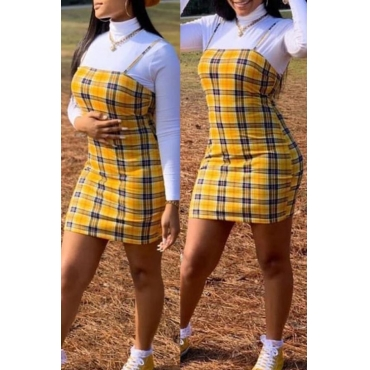 Lovely Casual Turtleneck Plaid Yellow Two-piece Skirt Set