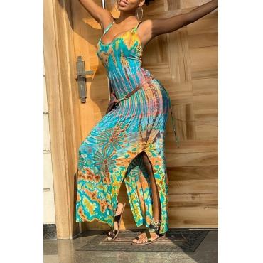 Lovely Bohemian Spaghetti Strap Print Multicolor Ankle Length Dress