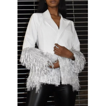 Lovely Casual Tassel Design White Blazer