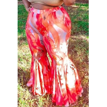 Lovely Casual Print Red Plus Size Pants
