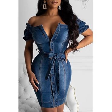 Lovely Chic Dew Shoulder Blue Mini Dress