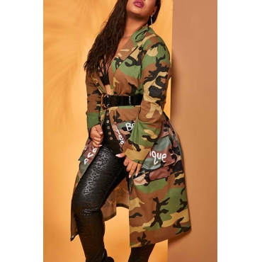 Lovely Casual Turndown Collar Camo Print Plus Size Coat