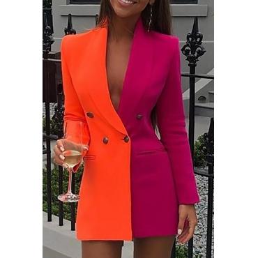 Lovely Work Turn-back Collar Patchwork Orange Mini Dress